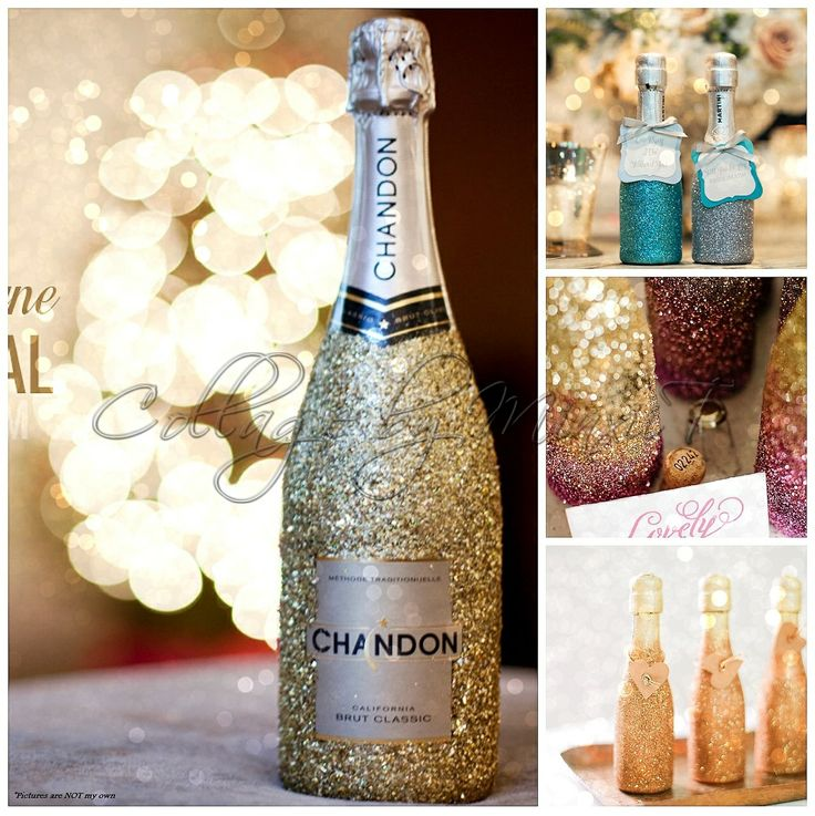 DIY - Glitz  Glamour champagne bottles! Great idea for engagements  weddings. Just glue and sprinkle with glitter dust to suit you...