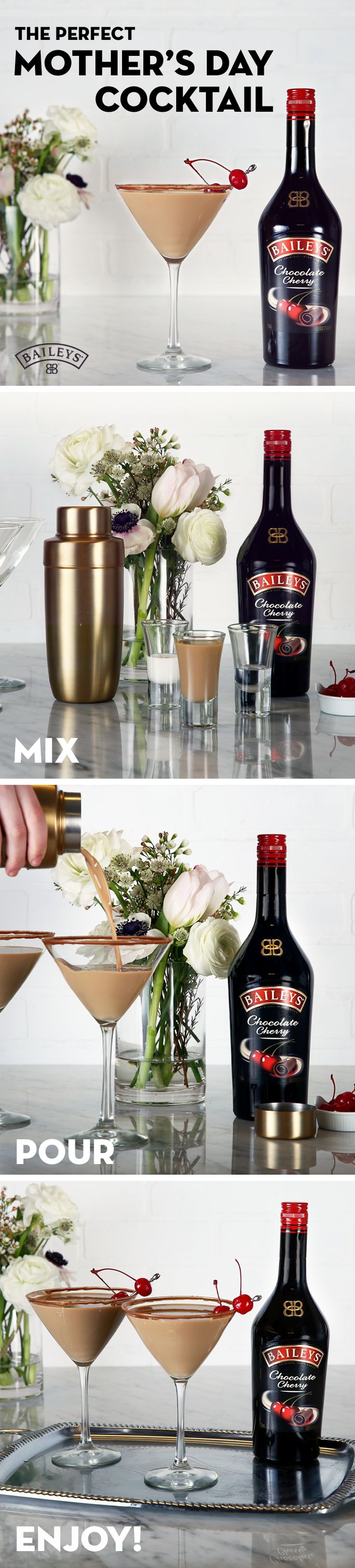 Make your Mother's Day brunch #BetterWithBaileys. She'll love this delicious White Chocolate Cherry Cocktail. Just mix 2 oz Baileys™ Chocolate Cherry, 0.25 oz Smirnoff™ No. 21 Vodka, and 0.25 oz Godiva™ White Chocolate Liqueur in a shaker with ice. Pour into a martini glass, garnish, and enjoy! Bonus: Add a beautiful DIY garnish that will make her feel extra special.