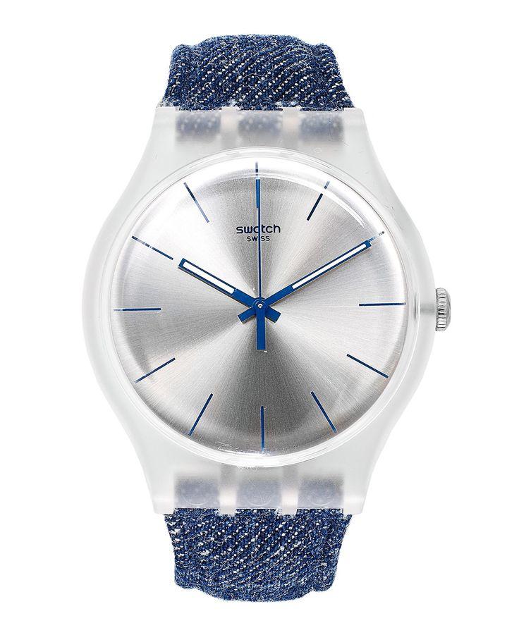 Swatch Watch, Unisex Swiss White Washed Out Blue Denim Strap 43mm SUOK103 - Swatch - Jewelry & Watches - Macys