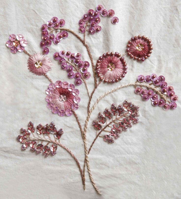 Cerezo en flor. Bordado a mano por Carolina Gana. Taller de Bordado Rococó. Santiago de Chile. CGP©2009