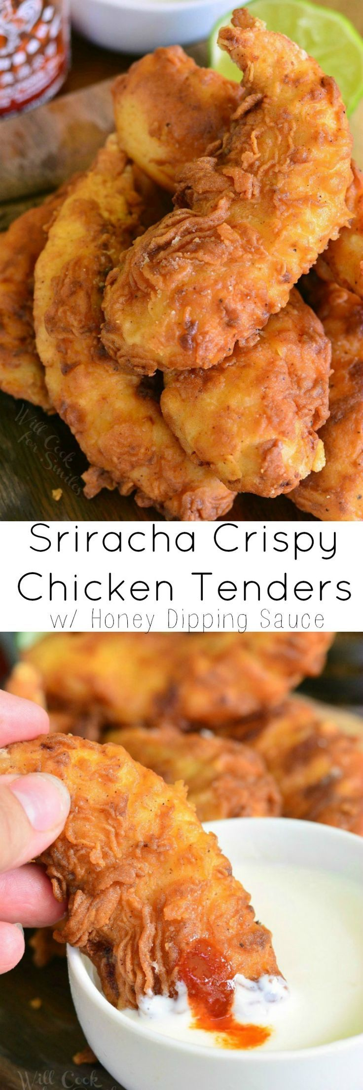 Sriracha Crispy Chicken Tenders with Honey Dipping Sauce. Crispy chicken tenders are made with sriracha sauce right in the batter and served with a cool, sweet honey sour cream sauce.