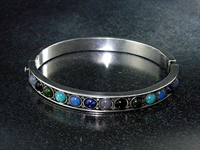 Silver Chalcedony Onyx Turquoise Glass Bracelet