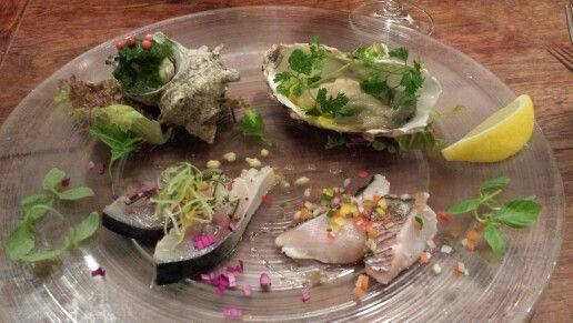 Incredible raw fish apetizers oyster tuna lumaca di mare e orata