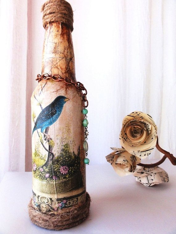 Adele Vintage Bottle Vase Table Centerpiece for von 505Vintage, $21,95