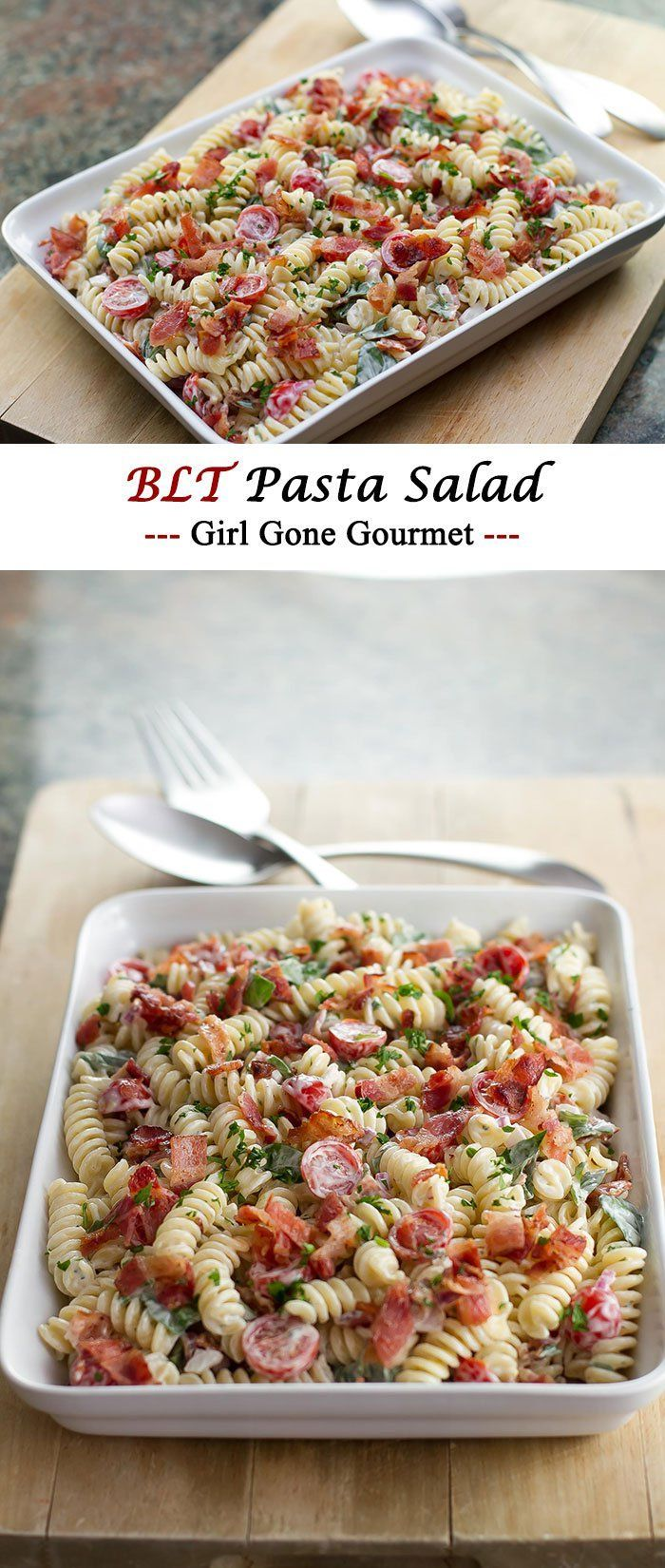 A fun twist on a traditional BLT - this pasta salad has a creamy mayo dressing, crispy bacon, and sweet cherry tomatoes | girlgonegourmet.com