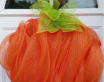 Fall Pumpkin Deco Mesh Wreath by ADoorableCreations05 on Etsy