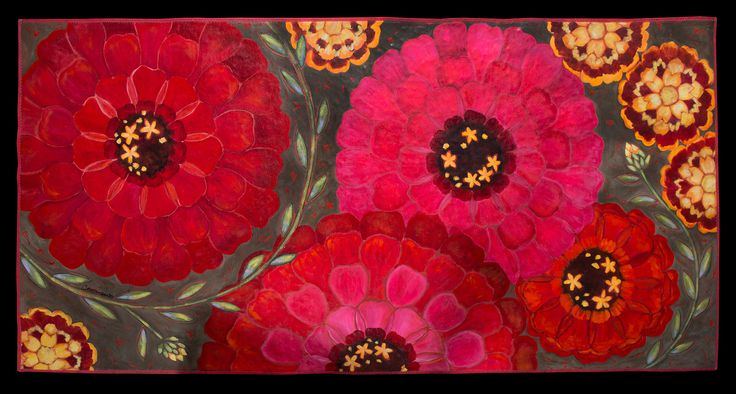 """Zinnias and Marigolds"" floorcloth."