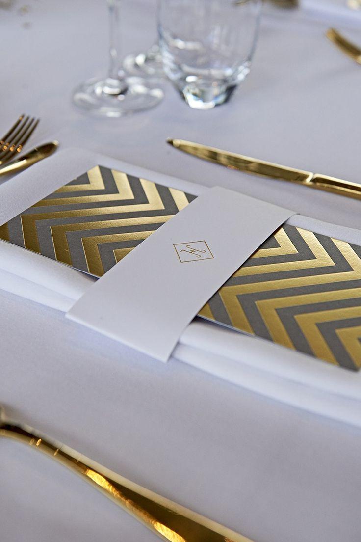 Chevron Stationery Place Setting Modern Mint Gold Grey City Wedding http://www.studiocano.co.uk/