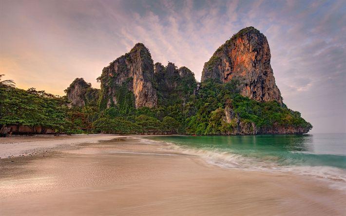 Download wallpapers beach, Thailand, tropical island, rocks, sea, palm trees, rainforest, resort, travel
