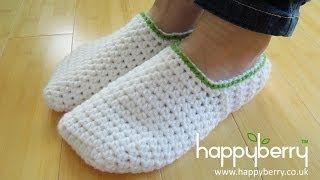 easy crochet slippers for beginners - YouTube