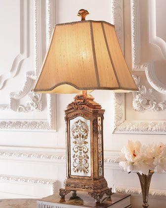 Hand Painted Mirrored Lamp