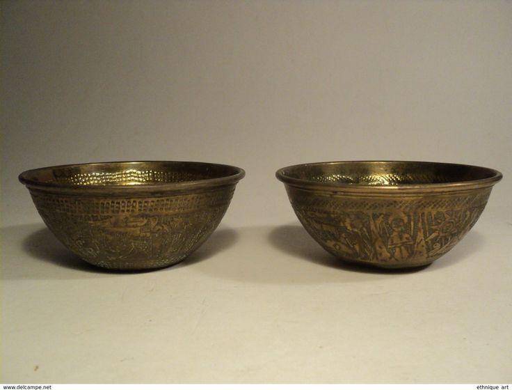 Art oriental - 2 Anciens Bols Laiton Egypte Art Juif, Old Egyptian Islamic Brass Bowl / Hebreu Hebraïque