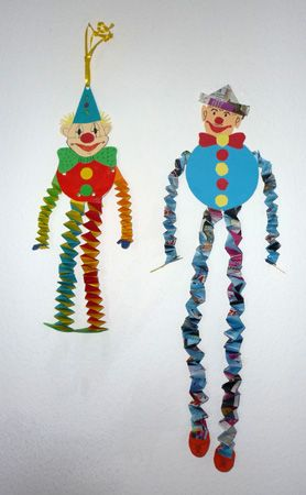 Bastelideen/Basteln-Fasching-Clowns-Hexentreppen