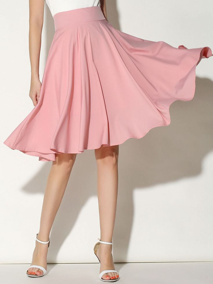 Pink High Waist Midi Skater Skirt | abaday