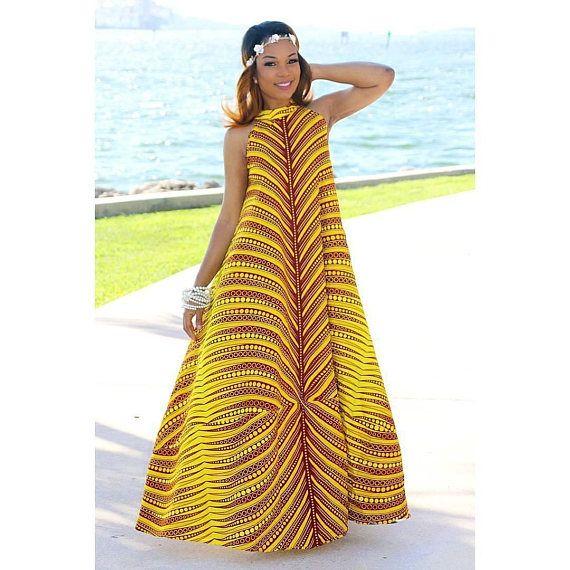 Modèle Pagne · C\u0027est une belle africaine impression Maxi robe longue. ,Peut  également être utilisé