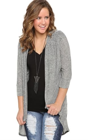 Deb Shops Elbow Sleeve Marled Cocoon Duster Sweater $13.93