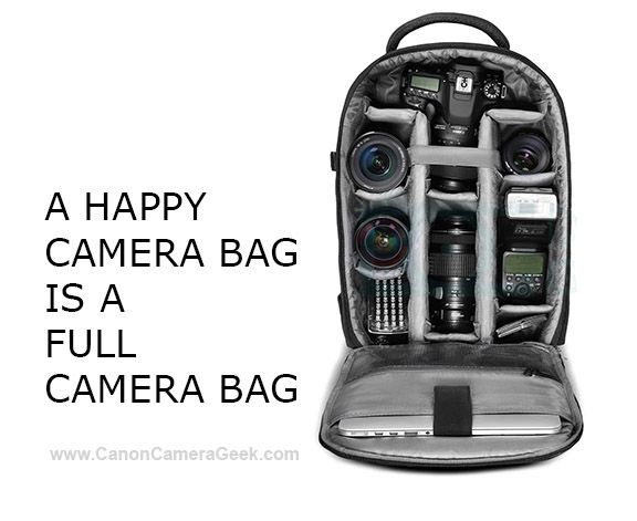 A happy camera bag is one that's full of Canon cameras and accessories. #canoncameraaccessories #canoncamerabags #shootcanon