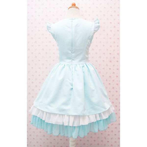 Turquoise Cute Jumper Skirt Sweetheart Neckline Sweet Lolita Dress ($185) ❤ liked on Polyvore featuring dresses, blue dress, sweetheart dress, turquoise green dress, blue sweetheart neckline dress and blue sweetheart dress