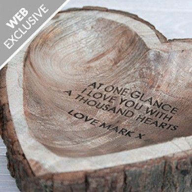 Personalised Wooden Heart Dish - Gift Idea This beautiful rustic heart dish has been hand-carved and has a natural bark edge going around the dish. Great for keeping loose change and keys in one tidy place. The centre of the heart can be engraved with your choice of personalisation (up to 60 characters). Add a heart-felt message or your favourite quote to make a totally unique gift. An ideal...