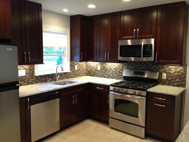 Kitchen Remodel Dark Cabinets Backsplash Stainless Steel Appliances Tile Floor Small