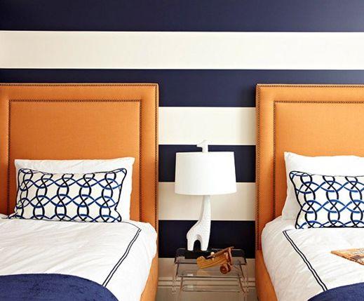 Childrens' room. orange, navy, white.