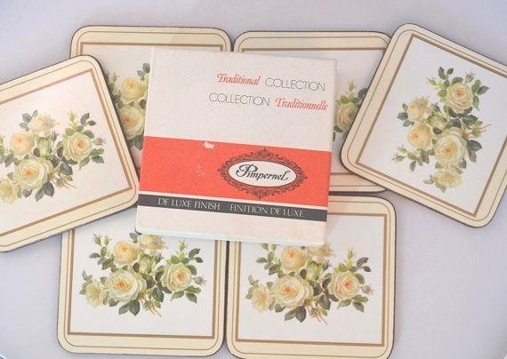 Vintage Pimpernel English Rose Set Of Six Coasters by FarahsAttic, $10.00