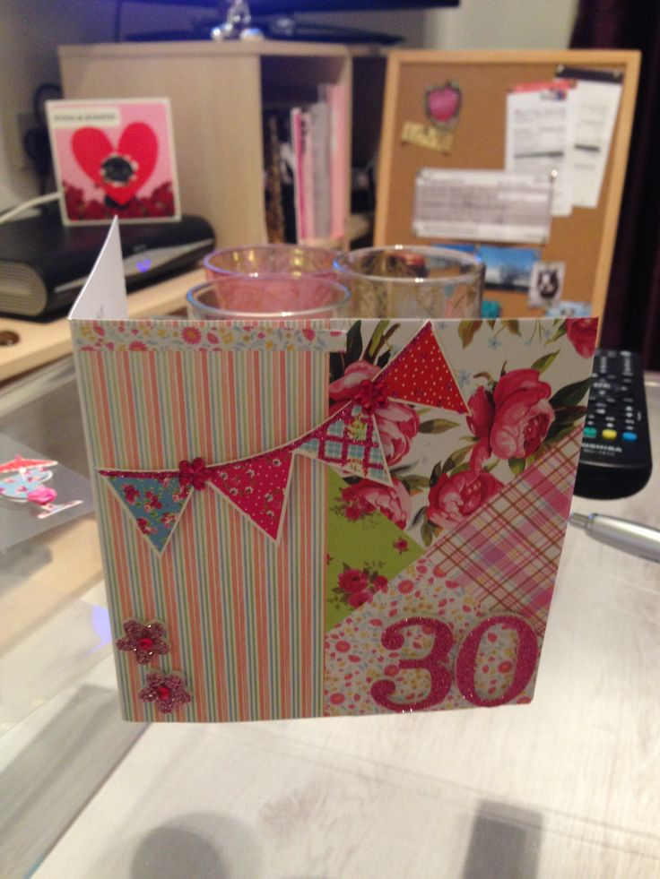 Card Making Ideas 30th Birthday Part - 45: 30th Birthday Card #bunting #kitsch