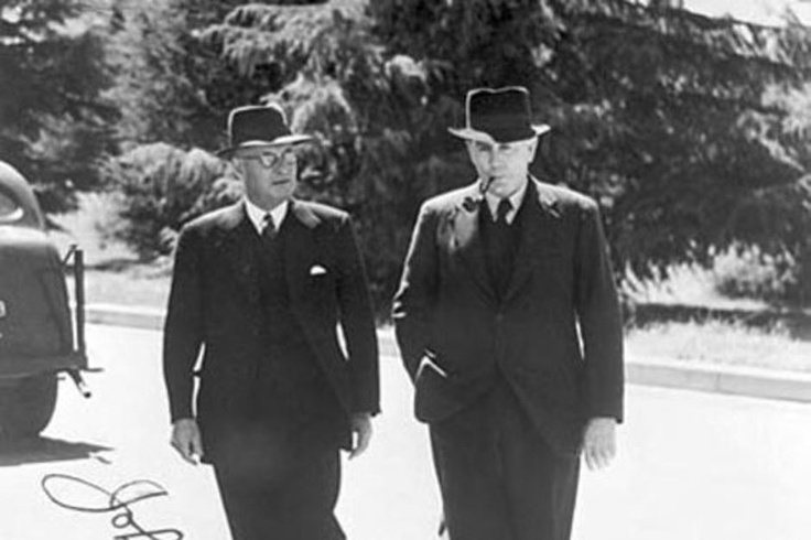 Ben Chifley (right), Prime Minister of Australia from July 13th 1945 – December 19th 1949. This photo was taken in 1945 with then Prime Minister John Curtin while Chifley was Finance Minister.