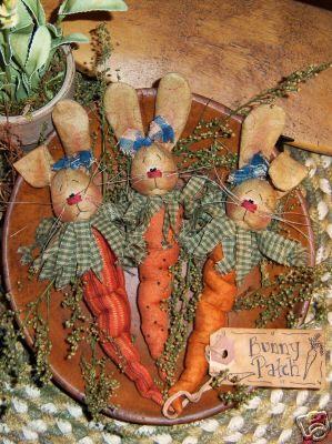 Primitive Carrot Bunny Ornies Bowl Fillers Pattern 274 | eBay