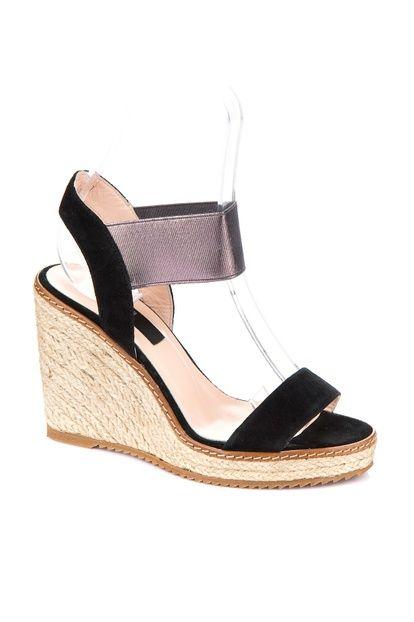 Hakiki Deri Siyah Kadın Dolgu Topuk Ayakkabı