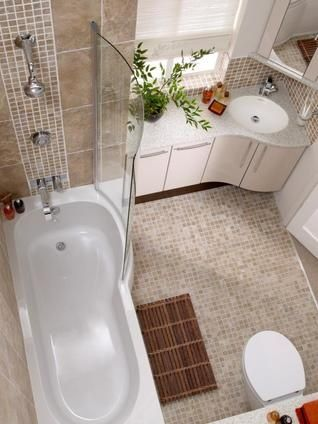 Small but cute bathroom    clever corner sink to maximize counter space