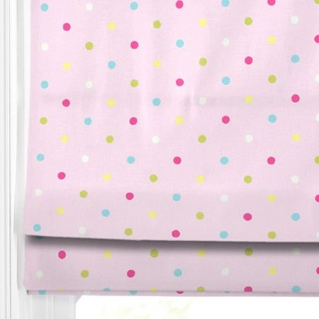 "Fun Dotty Pink Roman Blinds -great for a little girls room. Lots more ""pink"" blinds on our web site.. #roman blinds #pink #bedroom #blinds #247 #home decor #colour"