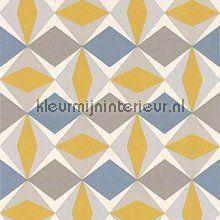 Zweedse ruiten geel blauw behang 51144002 Grafisch - Abstract Noordwand