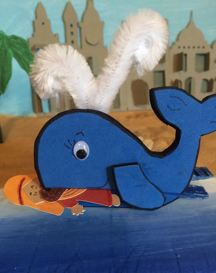 JONAH AND THE WHALE......background is painted and city and Jonah are from cricut cartridges