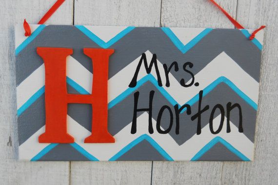 Letter Chevron personalized door sign/ nursery, Teacher, room