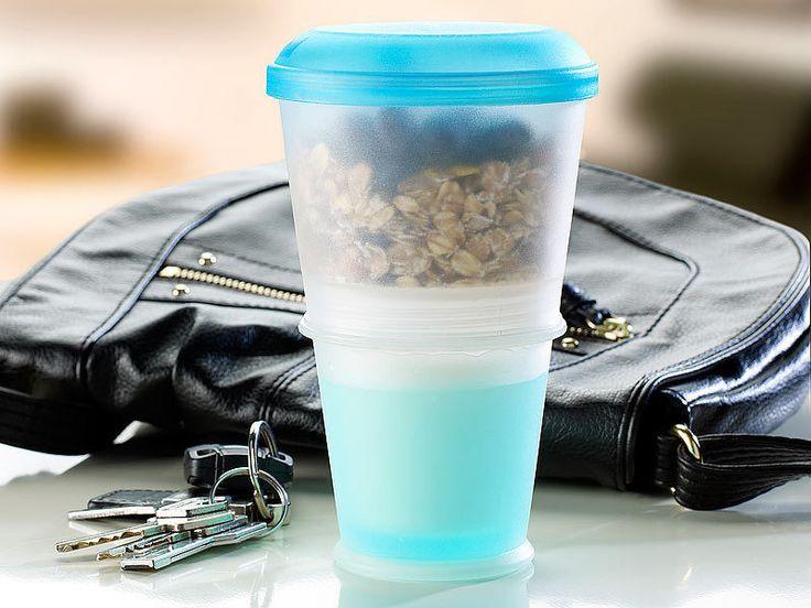 Müsli-to-go-Becher mit isoliertem Milchkühlfach & Löffel Joghurt Salat Obst 2Go in Haushaltsgeräte, Sonstige, Sonstige | eBay