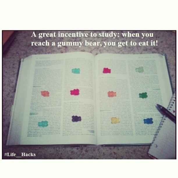 Use the snack incentive while studying. | 36 Life Hacks Every College Student Should Know