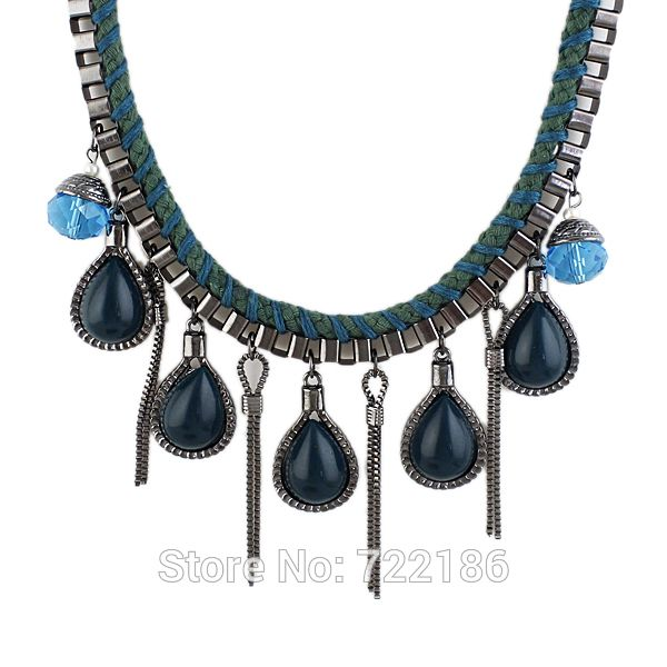 Simulated Gemstone Black Green Link Chains Alloy Statement Collares Vintage  Pendant Necklace 2014 Latest  Fashion Style-in Pendant Necklaces from Jewelry on Aliexpress.com   Alibaba Group