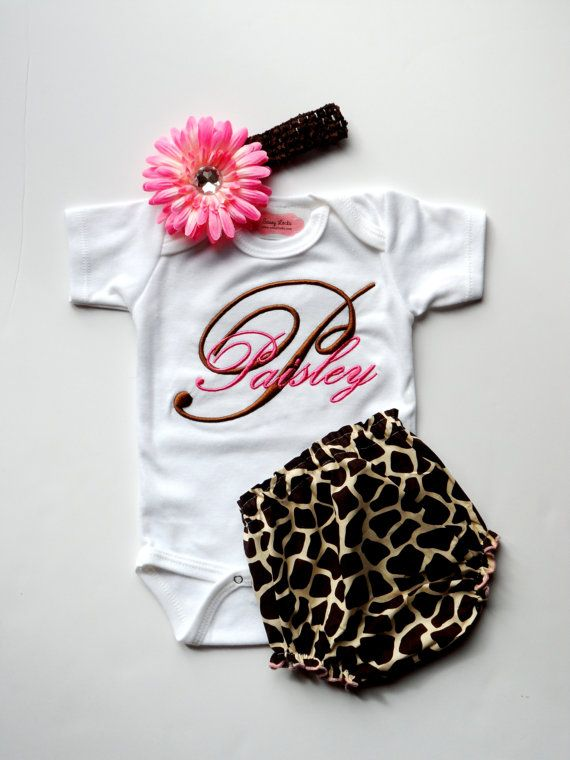 Baby Girl Clothes Monogram Onesie Personalized Onesie Giraffe Diaper Cover  Flower Headband Baby Gift Set