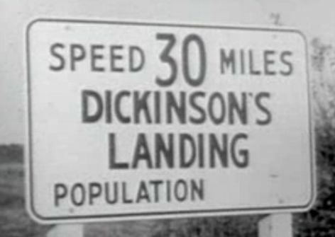 Dickinson's Landing, Ontario, sign