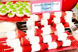 Strawberry Marshmallow Skewers. Would probably add blueberries too.