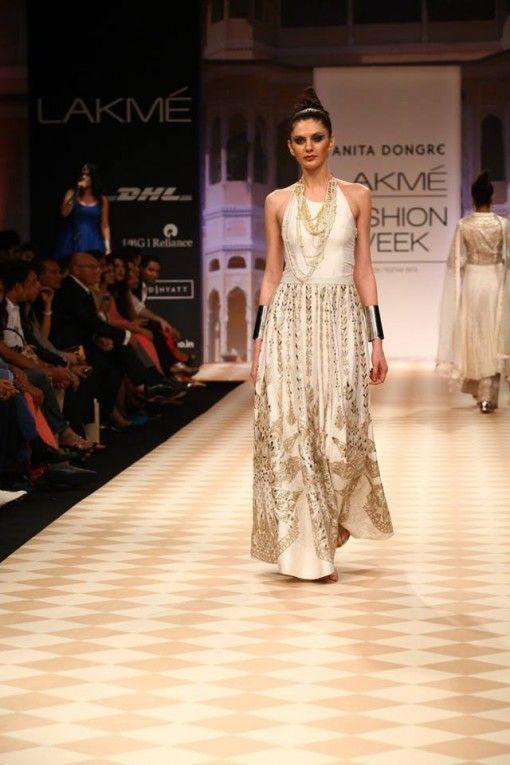 Lakme Winter 2013 Anita Dongre cream Indian dress metallic