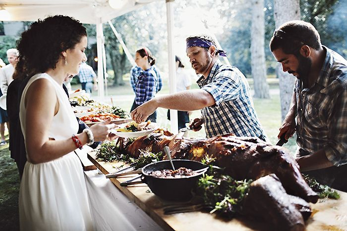 outdoor wedding reception firepit pig roast - Google Search