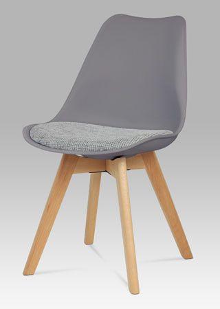 CT-722 GREY2  Moderní židle s plastovou skořepinou v šedé barvě a sedákem v šedé tkané látce, nohy jsou z lakovaného masivního bukového dřeva v přírodním odstínu. Nosnost této židle je do 110 kg.
