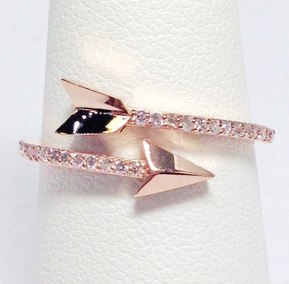0.18CT Diamond Arrow Ring Right Hand Band by FineJewlers on Etsy