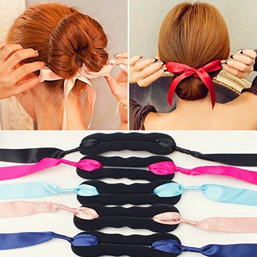 Elegant Ribbon Magic French Twist Bun Maker Clip Hook Holder Magic Roll Rings Donut Updo Chignon Former Pads Foam Sponge Hair Styler Curler Braid Ponytail Stick Hairstyle Styling Tool Accessories *** Details can be found by clicking on the image.(This is an Amazon affiliate link and I receive a commission for the sales)