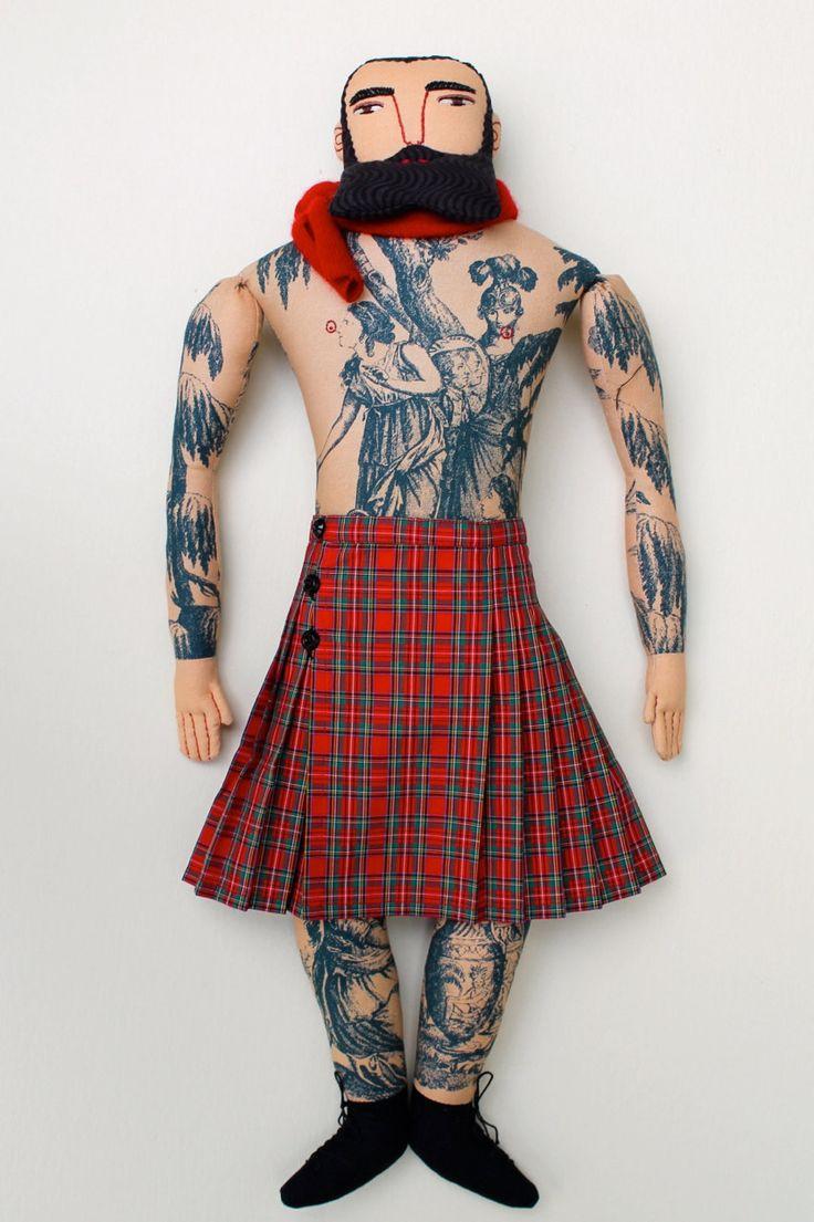 Tattooed Man in a Kilt~Art Doll by Mimi Kirchner, 2014