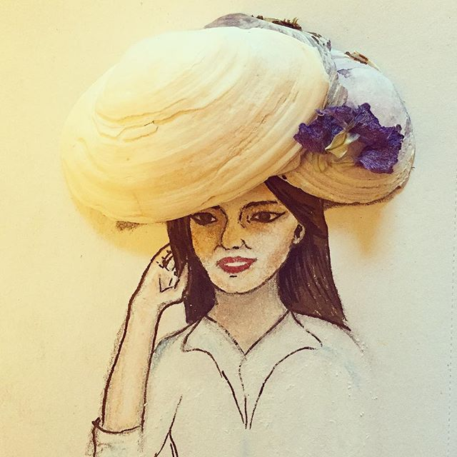 #inspiration #shell #flower #floral #art #artwork #instaphoto #hat #fashion #woman #design #illustration #drawing #painting #sketch #portrait #facial #features #happy @instagram