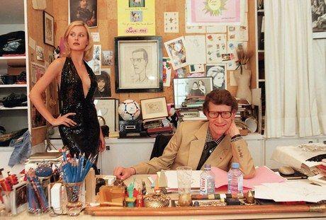YSL & model in his office • circa 1988