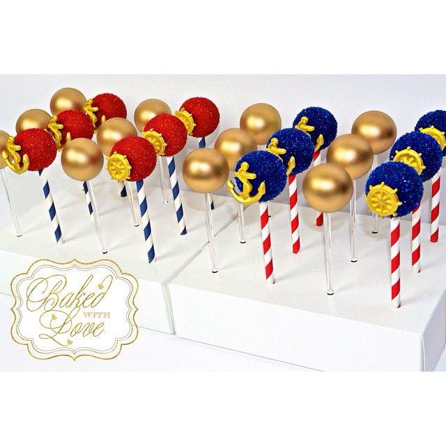 Cake pops fit for Captain Noah's 1st birthday! ❤️⚓️ #cakepops #nautical #nauticalpops #nauticalcakepops #nauticaltheme #anchor #anchorpops #anchorcakepops #miami #miamicakepops #miamibaker #bakedwithlove